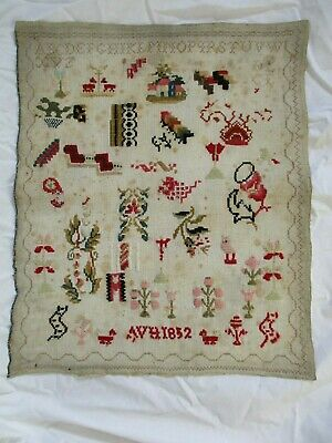 antique alphabet school sampler 1832