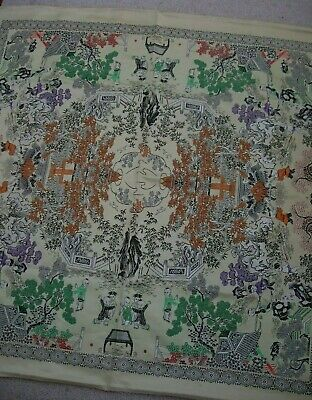 vintage chinese damask satin fabric panel 95 cm sq CHILDREN PLAYING in GARDEN