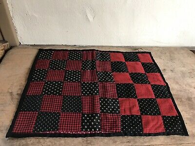 Early Antique Red & Black Calico Doll's Quilt Mat Textile Fragment AAFA