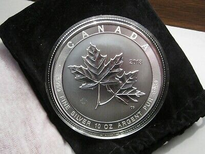 2018 Canadian 10 oz. Silver 50$ Magnificent Maple Leaves BU .999 Fine Silver