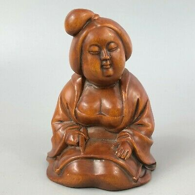 Chinese Collectible Antique Old Boxwood Handwork Chubbiness Busty Maid Statue
