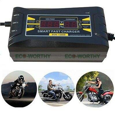 New 12V 6A Smart Car Motorcycle Battery Charger LCD Display Electric Intelligent