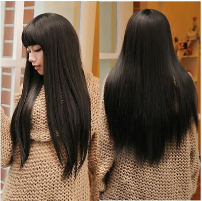 Women's Natural Korean Cosplay Party Long Straight Wig Synthetic Hair Wig
