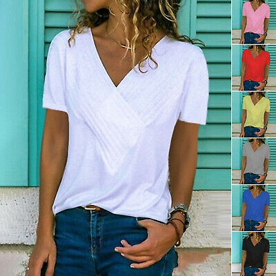 38b648f2f75fae Plus Size Women Summer Loose V Neck Short Sleeve Solid Tunic Tops Blouse T- shirt