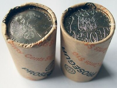 2017 Coat of arms 50c Security roll 20 x 50 cent uncirculated head/tail