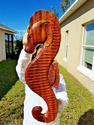 """X-LARGE 35/"""" x 7/"""" HANDCARVED TEAK WOOD /""""SEAHORSE/"""" WALL DECOR POINTING RIGHT!"""