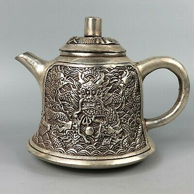 Rare Collectible Chinese Antique Old Tibet Silver Handwork Noble Dragon Teapot
