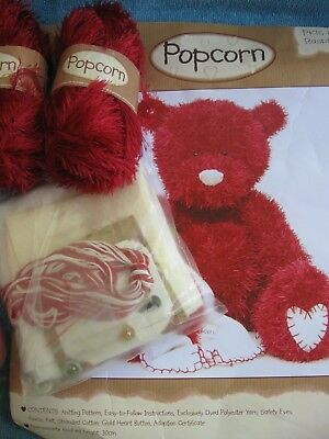 KNITTED TEDDY BEAR KIT - POPCORN Raspberry / Red with heart blanket