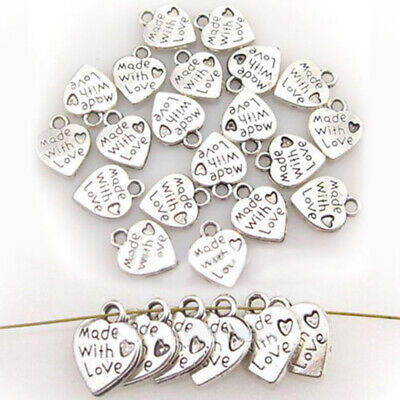 100pcs/Set Made With Love Pendant Charm Beads Jewelry Making Craft Gift DIY AU