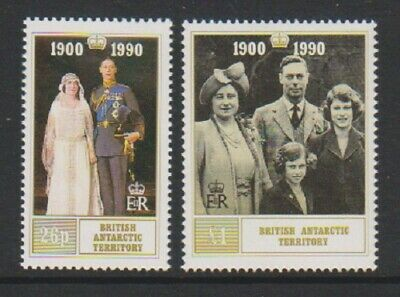 British Antarctic (BAT) - 1990, Queen Mother 90th Birthday set - MNH - SG 186/7