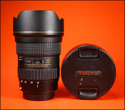 Tokina AT-X 16-28mm f/2.8 Pro FX Ultra Wide Lens for Canon With Both Caps & Hood
