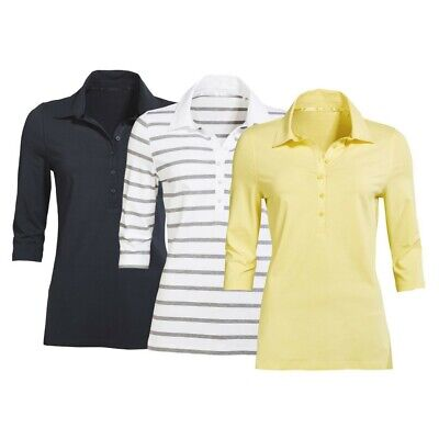 Chic Ladies Polo Shirt in 3 Colours and Sizes Material Mix