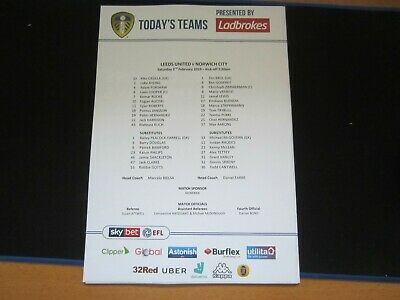 2018/19 CHAMPIONSHIP LEEDS UNITED v NORWICH CITY  OFFICIAL TEAM SHEET