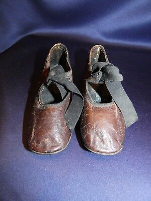 Pair Antique Child's Shoes Leather With Ribbon Ties No Left or Right Well Worn