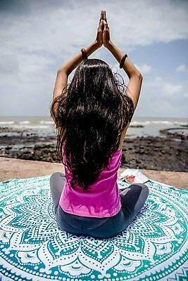 Green Ombre Mandala Beach Roundie Cotton Tapestry Throw Yoga Mat Indian Round