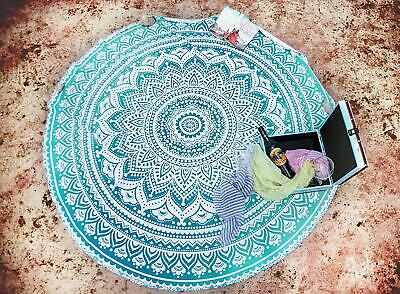 """Ombre Mandala Indian Cotton Table Cover Hippie Beach Towel Tapestry Round 72"""""""