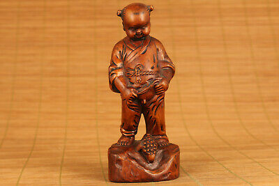 antique chinese old boxwood hand carved baby pee statue netsuke