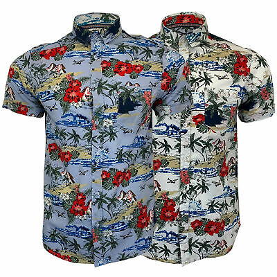 Mens Hawaii Cotton Shirt Brave Soul Floral Palm Tree Printed Short Sleeved Beach