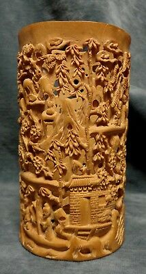 CINA (China): Old Chinese Brush Pots carved in sandalwood (?)