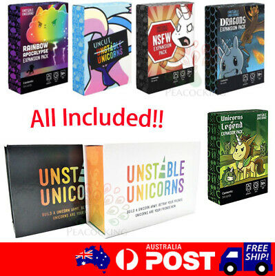 All in one Unstable Unicorns Main Card +5 Expansion Cards Set Unicorn Board Game
