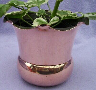 VINTAGE FLUTED TOP COPPER PLANTER   125mm H x 148mm W
