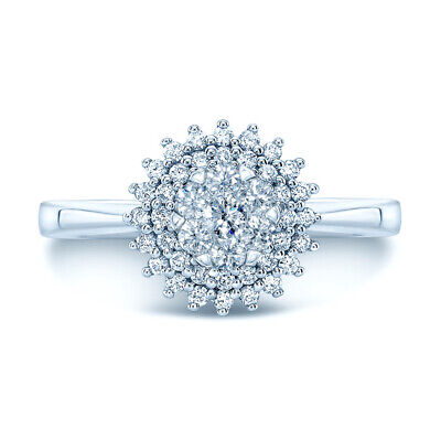 0.41 Carats 14k or Blanc Coupe Ronde Naturelle Cluster Diamant