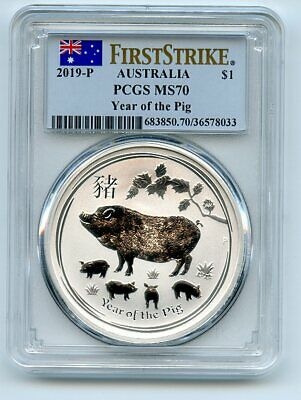 2019 P $1 Australia Silver Lunar Year of the Pig PCGS MS70 First Strike
