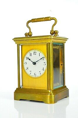 Antique French Travel Clock from Brass / Enamel Dial approx.1910