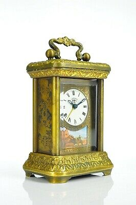 Superb Antique Lenzkirch Brass Alarm Clock - Black Forest approx. 1900