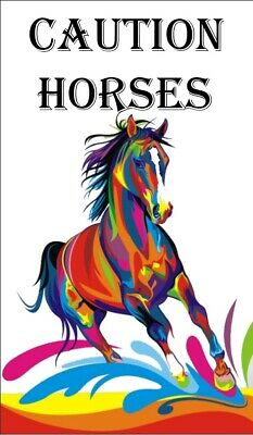 CAUTION HORSES  HORSE FLOAT DECAL STICKERS POPULAR XL 600mm X 480mm BEAUTIFUL