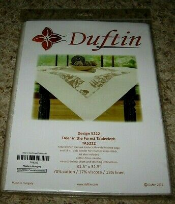 Duftin~Deer In The Forest Tablecloth~Cross Stitch Kit~#5222~New In Package