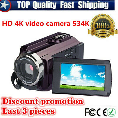 "270° Rotation 4K Video Camcorder Camera DV 3.0"" Touch Screen IR Night Vision"