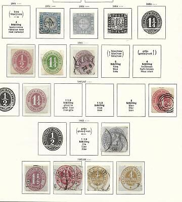 Schleswig-Holstein stamps 1864 Collection of 14 CLASSIC stamps HIGH VALUE!