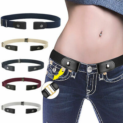 Men Women Buckle-free Elastic Adjustable Invisible Belt Jean Pants Denim Trouser
