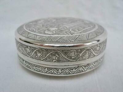 Superb Egyptian Vintage Hand Chased Solid Silver Circular Snuff Box.