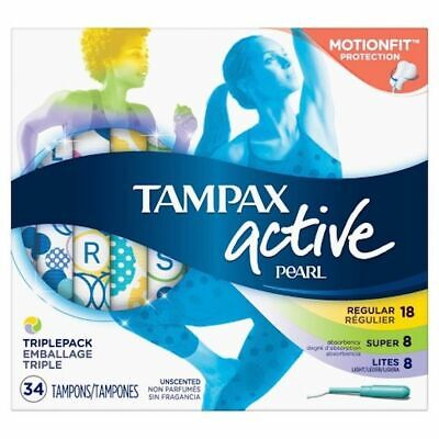 Tampax Pearl Active Tampons Triplepack Light/Regular/Super Unscented 34 Tampons