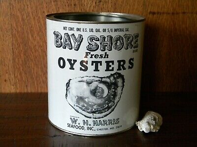 Vintage Gallon Bay Shore Brand Oyster Tin Can ~ Chester Md ~ Md 158