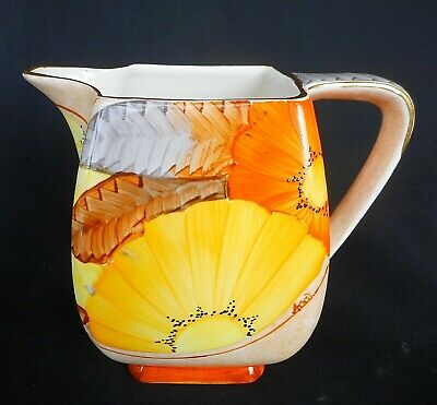 Art Deco Shape Gray's Pottery Jug Hand Decorated With Colourful Flowers C.1936