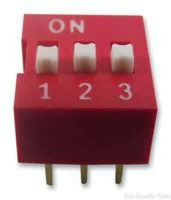 DIP / SIP Switch, 3 Circuits, SPST, Through Hole, NDS Series, 24 VDC
