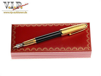 Cartier Louis Fountain Pen Holder Black Lacquer Gold Finish Stylo Plume