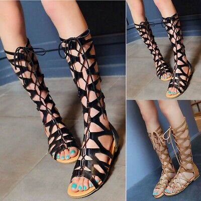 58c6167732d Hot Women s Roman Knee High Sandals Boot Lace Up Flat Gladiator Hollow Out  Shoes