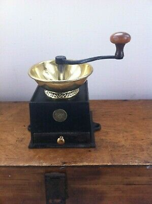 LARGE DECORATIVE ANTIQUE CAST IRON & BRASS KENRICK No 3 COFFEE MILL / GRINDER