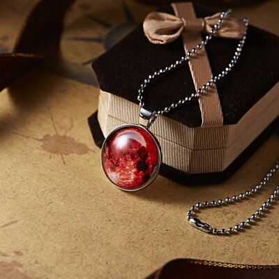 Glow In The Dark Moon Stone Pendant Necklace Galaxy Red Round Fashion Jewelry
