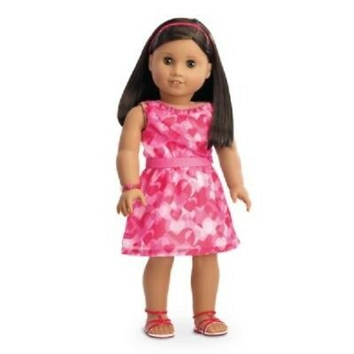 American Girl  Doll Clothes RED HEARTS RUFFLE DRESS Sandals + NEW no doll