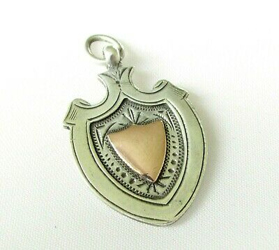 Antique solid silver sterling fob medal with gold detail