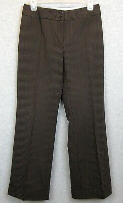 Petite Sophisticate Womens Sz 4 Pants Career Brown Pinstripe Stretch Flat Front