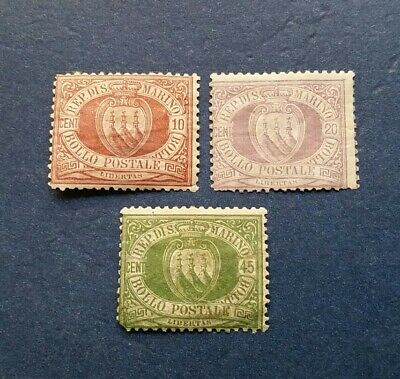 San Marino Stamps, Scott 9, 12 and 19 Mint and Hinged with Original Gum