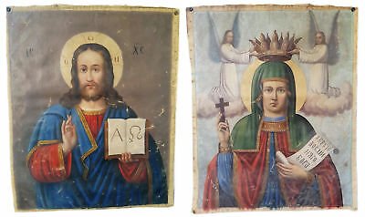Antique 19th C Russian Double-Sided Hand Painted Gonfalon 54.5 cm (Holy Banner)