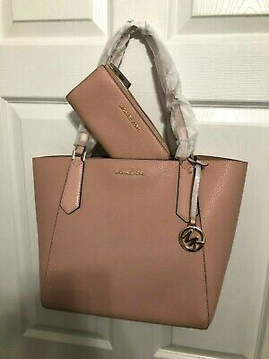 615b1cac1448 Michael Kors Kimberly Lg Top Zip Pebbled Leather Shoulder Tote Pastel Pink  $348