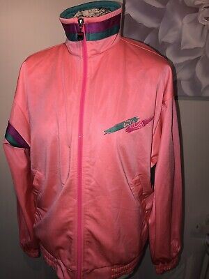e144bffe56bc Vintage 80's Fila Tracksuit Jacket Size 12/14 Bright Pink Great Condition